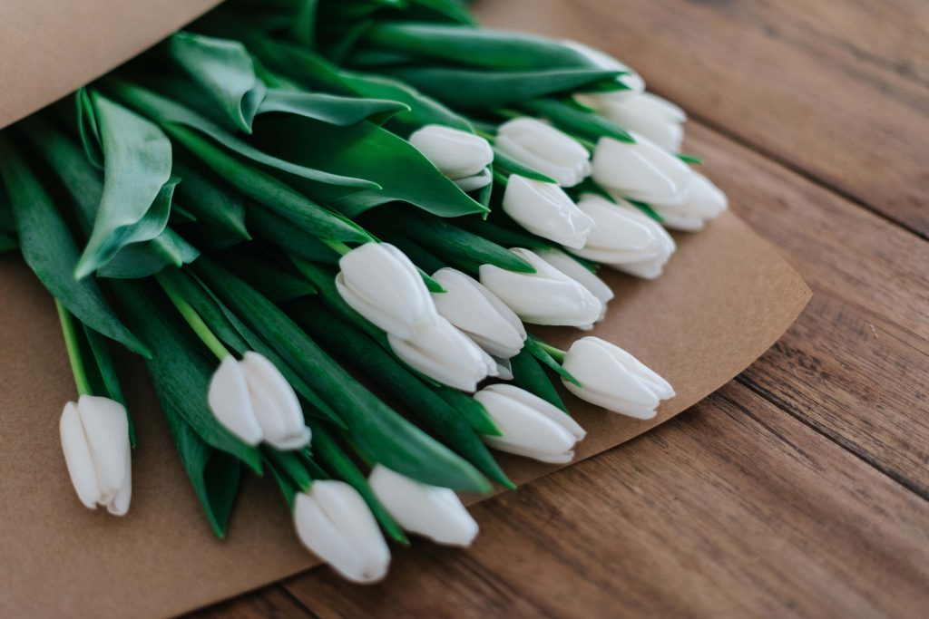 White Tulips April Birthday Flowers
