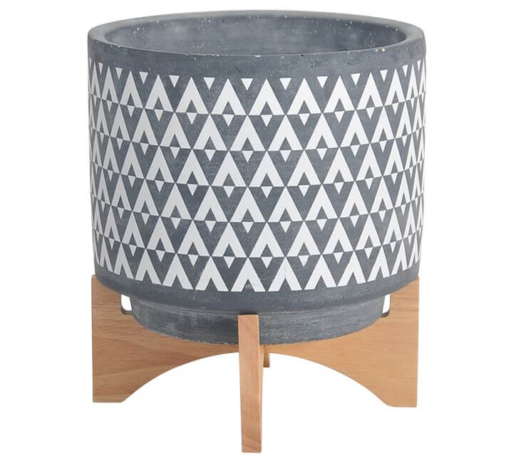 Aaliyah Ceramic Planter on Wooden Stand