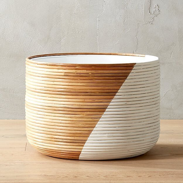 Basket Extra Large White Indoor Planter in two tone finish.