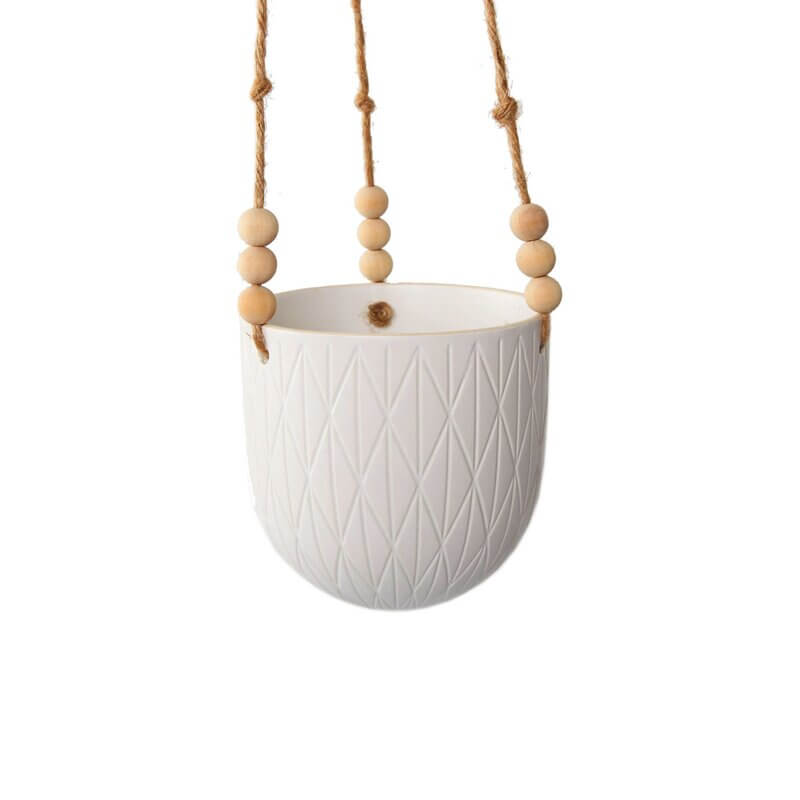 White ceramic hanging  indoor planters