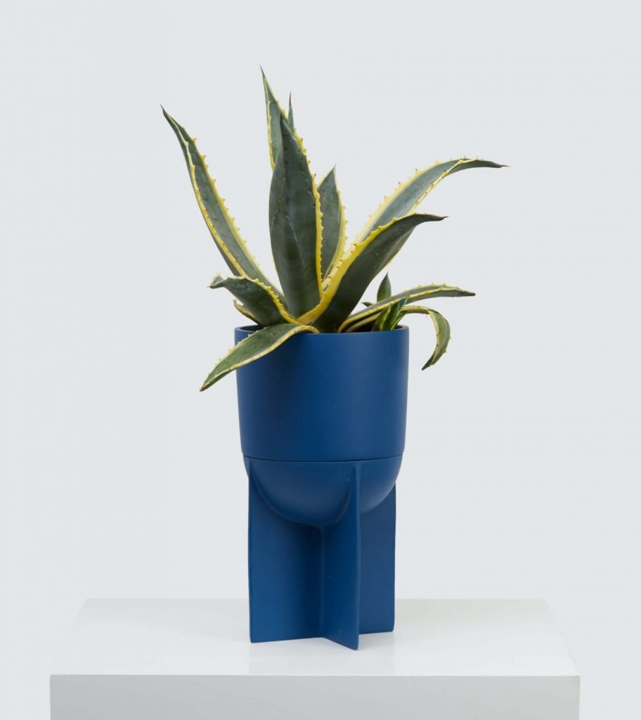 Tall blue modern terracotta indoor planter