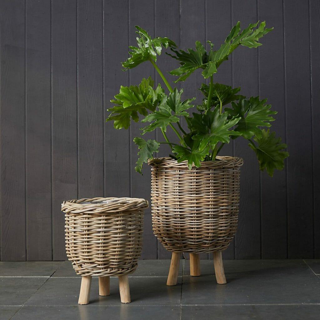 Rattan Footed Basket Indoor Planter