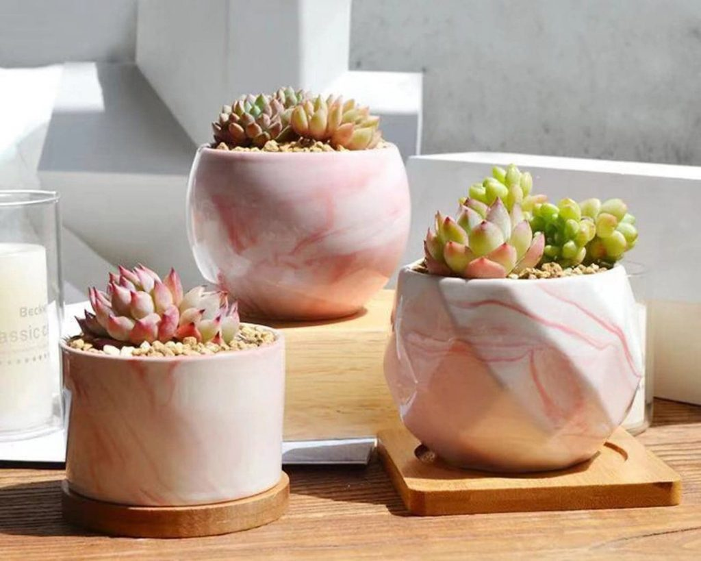 Small ceramic decorative marble planters