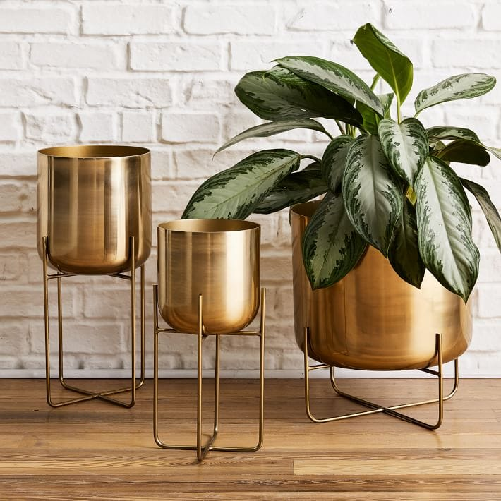 Spun metal modern standing planters with brass finish for indoor houseplants