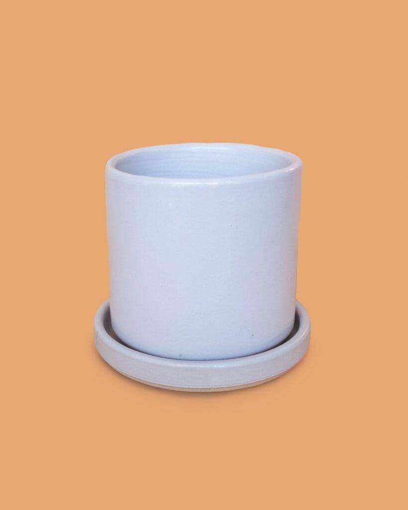 Stump white cylinder planter
