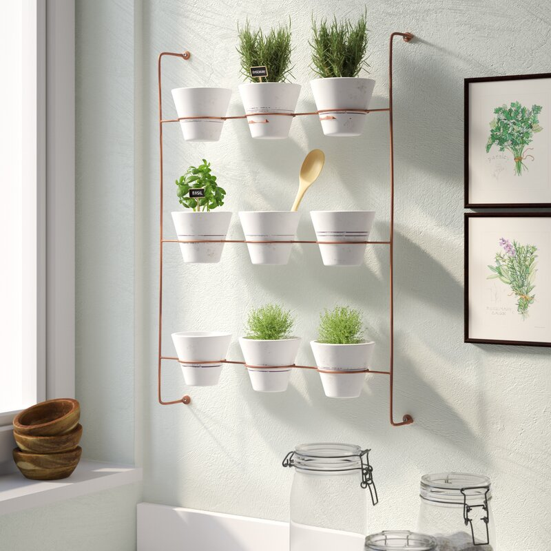 Wolter 9-Piece Wash Clay Wall Planter