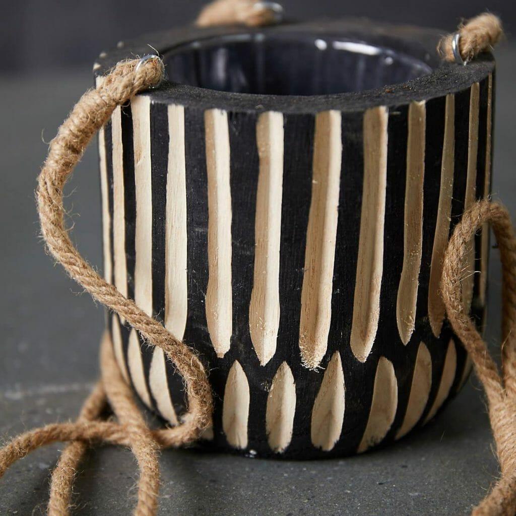 Wood Stripe Hanging Indoor Pot from Terrain