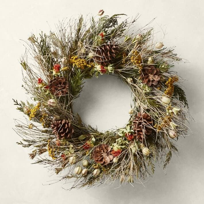 Autumnal wreaths for sale at Williams Sonoma