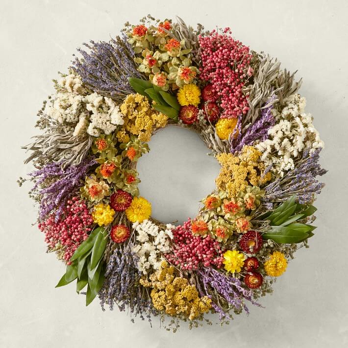Farmers market wreaths for sae at Williams Sonoma