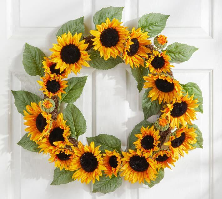 Sunflower wreaths for sale at pottery barn