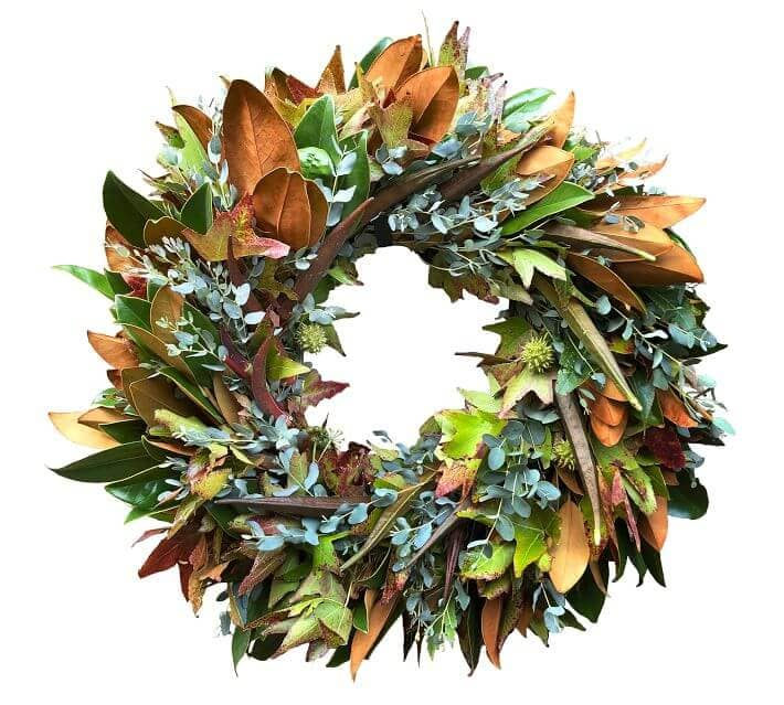 Wreaths and garlands for sale at Pottery Barn