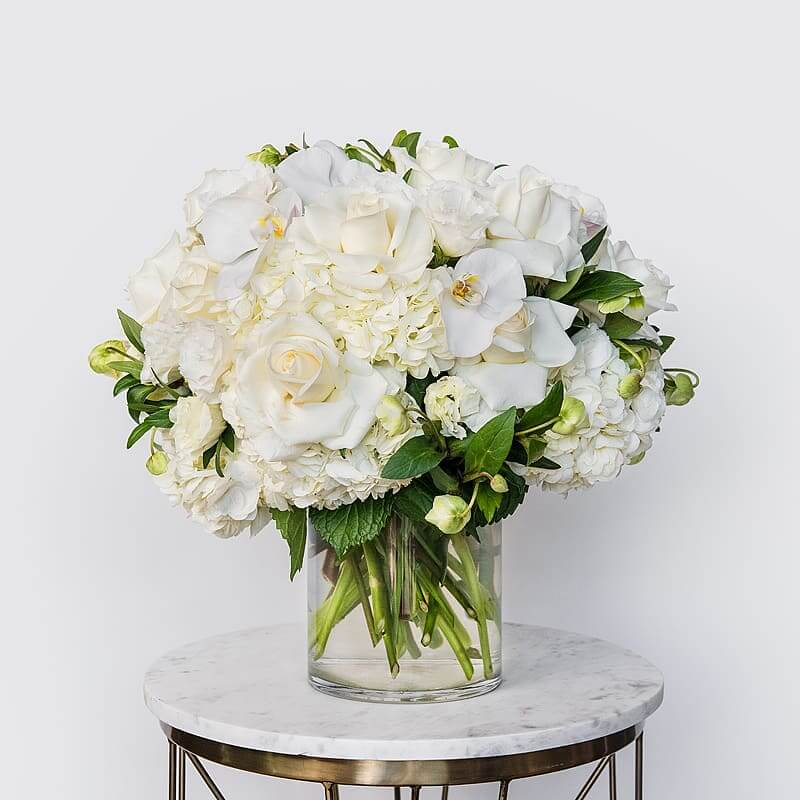 Seed Floral White Roses Arrangement Delivery in Los Angeles and Orange Country, California