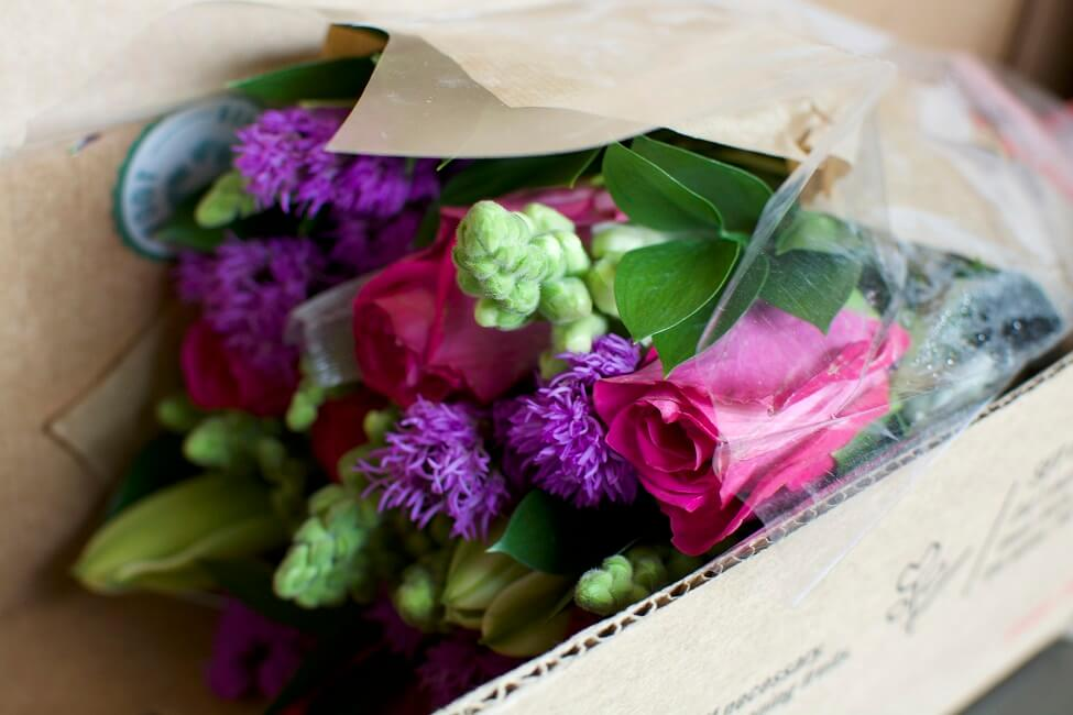 BloomsyBox Flowers packaged for shipping
